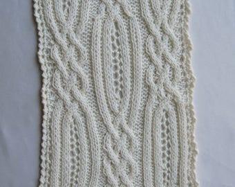 Knit Scarf Pattern:  Blantrey Cable Lace Scarf Knitting Pattern