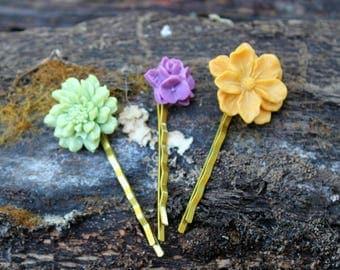 Grande & Mediano Flower Bobby Pin Trio
