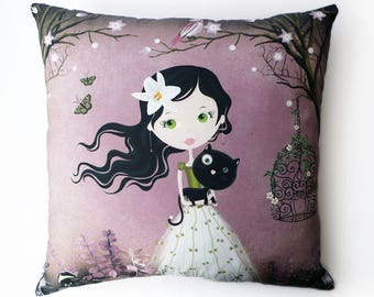 "Cushion deco girl pink ""Girl with the black cat"", child's room"
