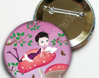 """Badge pin 45 minutes """"Writer"""" pink background, accessory, gift"""