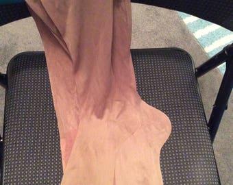 Vtg stockings new condition silky-nylon legs & cotton tops Triumph 9 1/2 40s