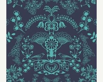 SALE 10% Off - Floralism in Deep Sea (MO-4804) - Modernology by Patricia Bravo - Art Gallery Fabrics - By the Yard