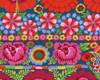 Kaffe Fassett Fabric, Artisan Embroidered Flower Border Red , Floral Cotton Fabric, Folk Art, Nature Inspired Quilting Fabric, By the Yard
