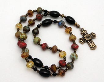 Anglican Rosary / Protestant Prayer Beads with Czech Picasso Glass Beads and TierraCast Antiqued Bronze Cross