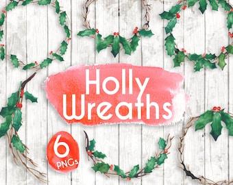 Holly Wreath Clipart - Watercolour Christmas Clipart - Christmas plants png - Holly invitation - Christmas card Holly clipart - GA62