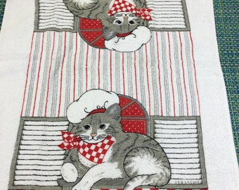 Vintage Holiday Cat Chef Terry Kitchen Towel by Cannon -retro kitchen towel,holiday kitchen towel,terry towel with cat, cat towel