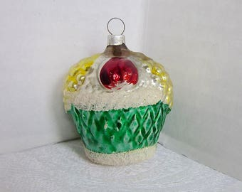 Antique Christmas Glass Ornament Basket 1930s Feather tree decoration