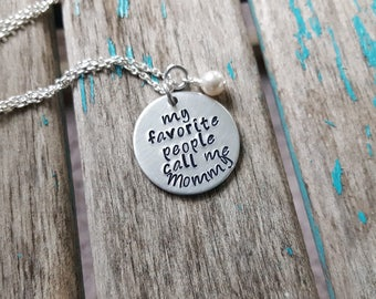 """Mother's  Necklace- """"my favorite people call me Mommy"""" with an accent bead of your choice- Hand-Stamped Necklace"""