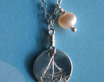 SALE Tiny Sailboat Nautical Sterling Silver Pearl Necklace