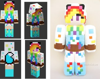 "Custom made Minecraft skin plush 23.6"" Your own Minecraft doll Personalized geek plushie - MADE TO ORDER"