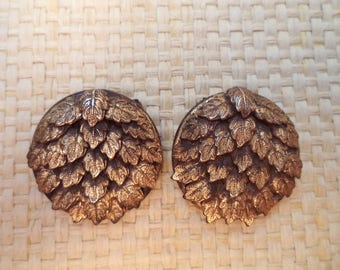 Pair Vintage Gilt Brass Oak Leaves Foliage Dress Clips Unsigned