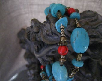 Turquoise and Red Coral Wrapped Memory Wire Bracelet