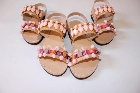 Childrens shoespink decorated sandals, kids sandals with wings, pompom sandals kids sandals. toddler sandals sandales fille