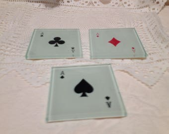 3 Glass  Ace Card Coasters