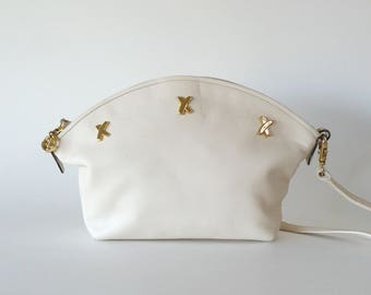 Paloma Picasso Small Zip Top Off-White Leather Crossbody Shoulder Bag Made in Italy