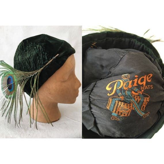 1920's Green Velvet Peacock Feather Cloche Hat