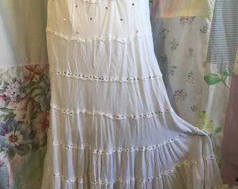 LARGE, Skirt, Boho Gypsy Hippie Tiered Lightweight White Cotton Skirt with Silver Sequins