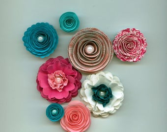 Teal and Hot Pink Handmade Paper Flower Mix