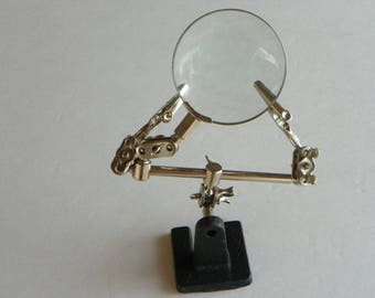 Third Hand, ie. Helping Hand With 4X Glass Magnifier