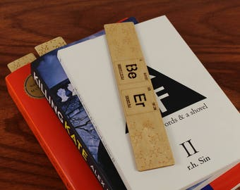 Beer, Periodic Table of Elements, Wooden Bookmark,  Russian Birch, Laser engraved, Paul Szewc