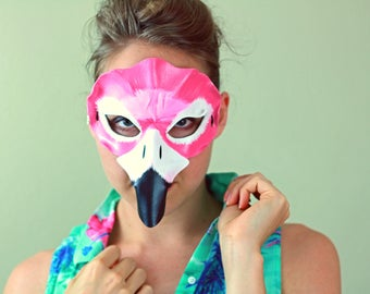 Flamingo Mask - Feather - Leather - Masquerade - Costume - Halloween - Animal Mask - Bird Mask Flamingo Costume - Women's Halloween Costume