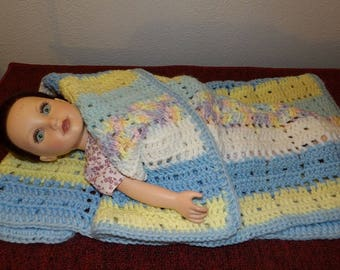 Handmade blue, yellow & pink yarn blanket for 18 inch dolls - agkb1