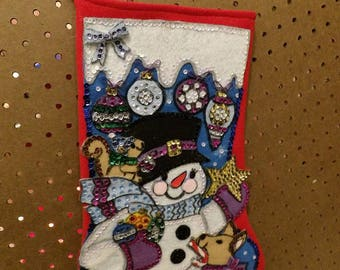 Collectable handmade Snowman & his animal friends felt and sequin Christmas stocking - fsk37