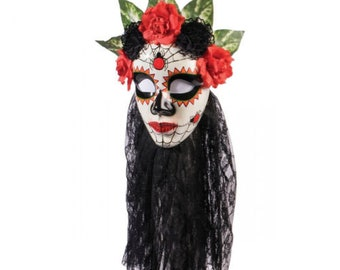 Day of the Dead mask with attached black lace veil & red / black flowers - ddm