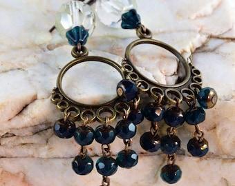 Chandelier Earrings  Crystal Earrings Green Earrings Bohemian Gypsy Earrings Boho Jewelry
