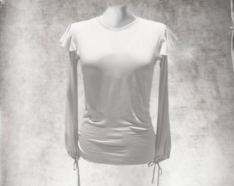 White women top/Ruffle armhole sleeve/crew neck blouse