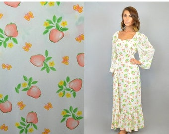 SUMMER SALE 70's Apple + Butterfly Maxi Dress