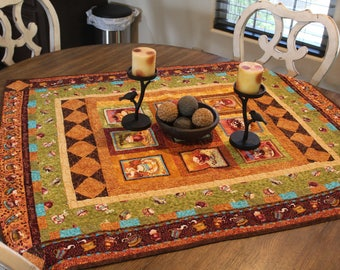 Quilted Coffee Themed Lap Quilt/Table Topper   Cb