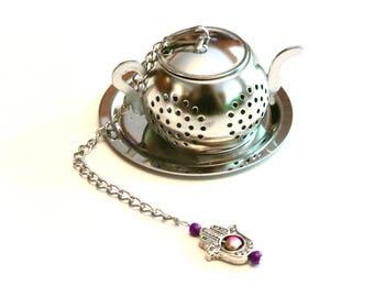 Tea Pot Tea Infuser with Hamsa Hand Charm- Pink and Gold Beads, Tea Brewing, Beaded Mesh Tea Ball, Mad Hatter Tea Party,  High Tea, Tea Gift