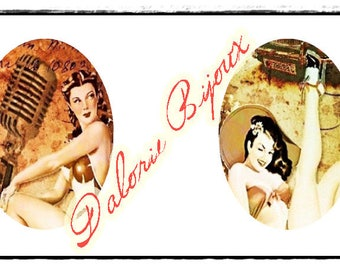 30 x 40 mm, Collage digital, Planche d'Images Digital Pin Up pour cabochons ovales