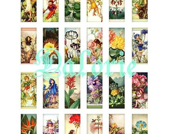 46.5 x 20 mm, rectangular cabochons Fairies digital Collage, Board of Images Vintage Digital