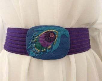 Vintage Purple Belt Stretch Elastic cinch belt fish leaf parrot buckle