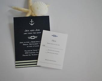 Navy anchor wedding invitation, Pocketfold invitation, nautical invitation, beach invitation, custom invitation, cape cod invitation