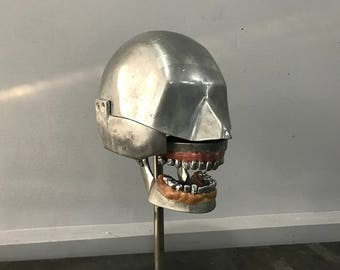 Aluminum Dental Phantom with complete vintage dentoform teeth set on display stand