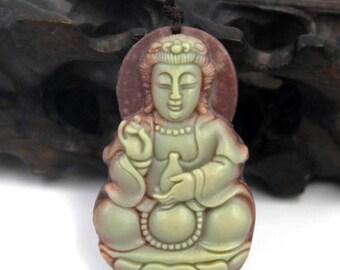 Amulet Tibet Buddhist Kwanyin Guanyin Bodhisattva Two Layer Natural Stone Pendant  ZP093