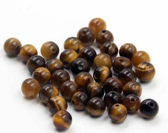 6mm 120Pcs Yellow Tiger Eye Gem Beads Loose Finding For Handwork-- ja2022