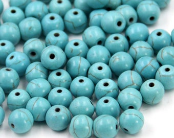 8mm 380Pcs Blue Howlite Turquoise Beads Loose Finding For Handwork-- ja2064