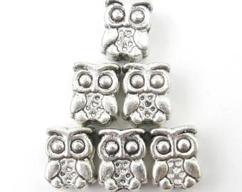 20Pcs Silver Tone Alloy Metal Owl Charm Spacers Beads Finding/20Pieces 12mm x 4mm  ja0075