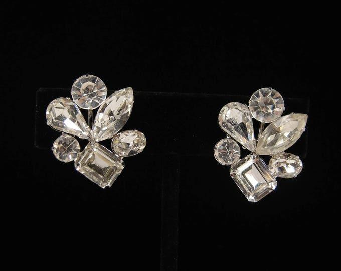 Vintage Clear Rhinestone Clip On Earrings Emerald Cut