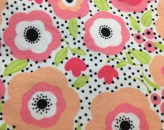 50% off SALE - Flowers - Cotton Flannel Fabric - BTY