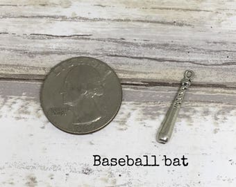 Baseball bat charm necklace