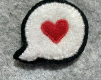 I love you speech bubble hair clip/brooch