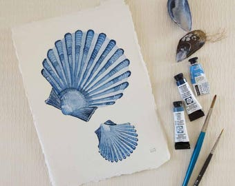 Original watercolour illustration painting of sea shells fan shell ocean shore series collection
