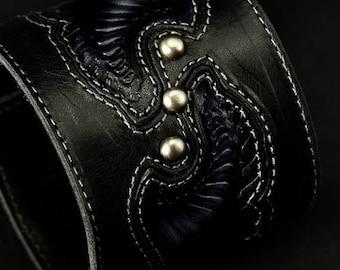 Memorial Day Sale Leather Cuff Bracelet, Leather Wrist Cuff:  Archangel Storm Cuff