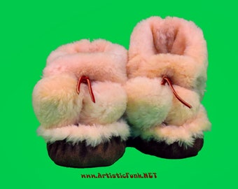 Shearling Slippers, High Top Sheepskin Fur Moccasins