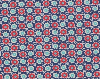 ON SALE Moda RUSSIAN Tradition - 1/2 Yard - Prussian Blue Floral, Navy, Red - 32726-14